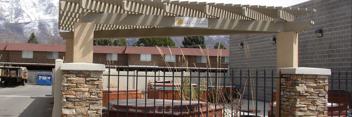 Beige Free Standing Patio Cover in Lehi, Utah
